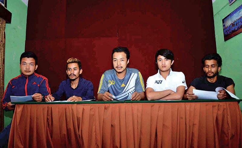 Pencak Silat officials at a press meet in Kathmandu on Wednesday. Photo: THT