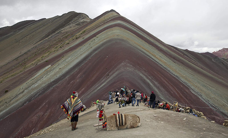 In this photo, an Andean man rests with his llama on Rainbow Mountain in Pitumarca, Peru, on March 2, 2018. Photo: AP