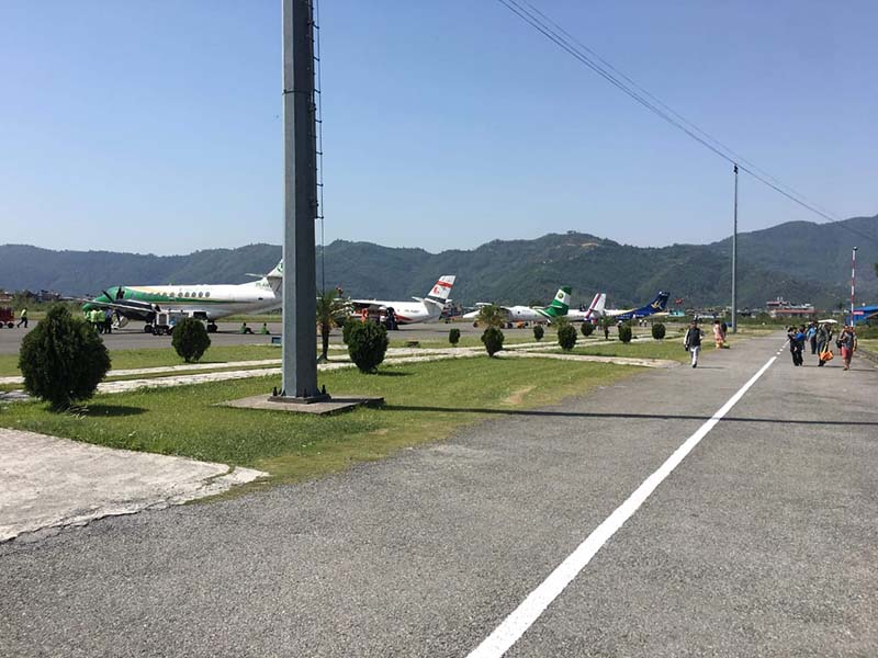 Aeroplanes are seen parked in the Pokhara Airport, Kaski district on Firday, May 11, 2018. Photo Courtesy: Surya Paudel