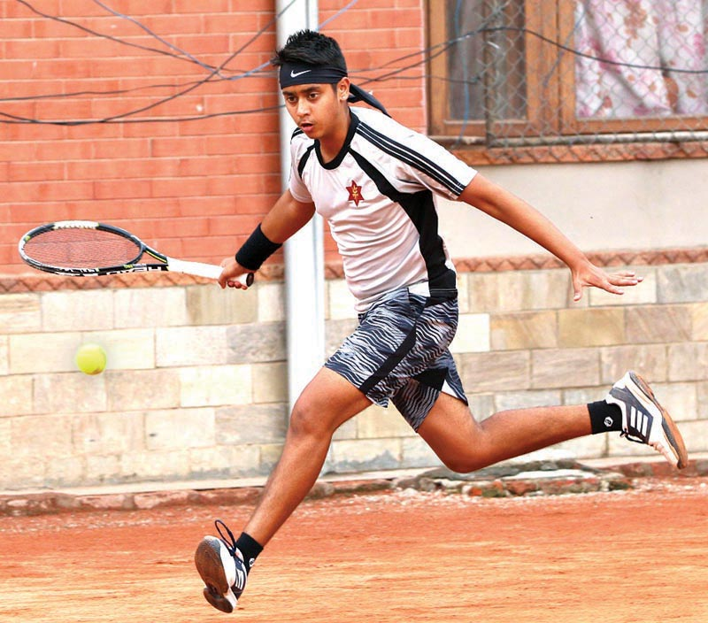 Pranav Khanal in action during the mixed doubles semi-final match of the sixth Citizens Bank Open in Kathmandu on Tuesday. Photo: THT
