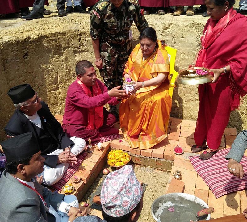 President Bidya Devi Bhandari laying the foundation stone of International Buddhist Conference Hall, in Lumbini, on Monday, April 30, 2018. Photo: THT