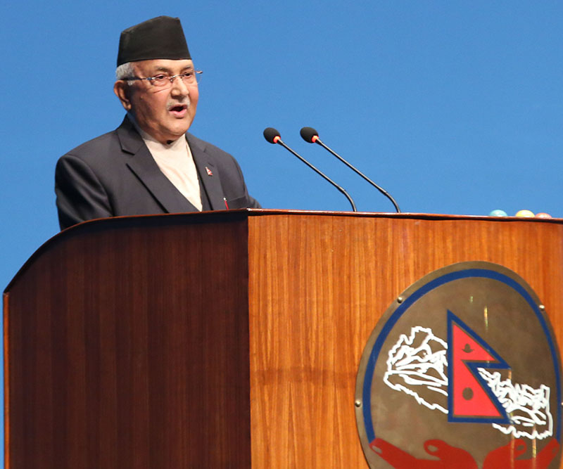 Prime Minister KP Sharma Oli isu00a0giving his replies to the queries raised by lawmakers regarding the government's policies and programmes for the upcoming fiscal year (2018-19) in Federal Parliament in Kathmandu, on Sunday, May 27, 2018. Photo: RSS