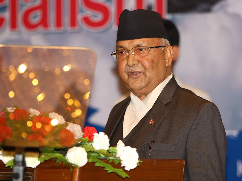 Prime Minister KP Sharma Oli speaking at a seminar on Marxism and socialism, in Kathmandu, on Wednesday, May 31, 2018. Photo: RSS