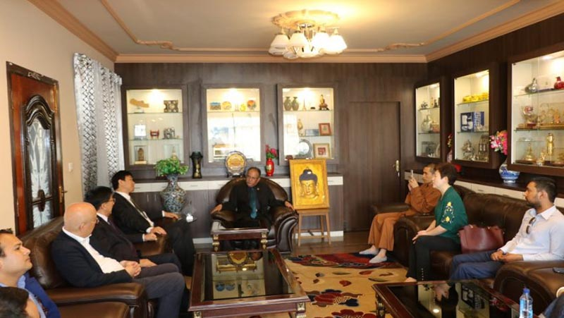 CPN Maoist Centre Chairman Pushpa Kamal Dahal meeting with a Chinese team led by Communist Party of China's Vice-president for Beijing Lizi Yang , at former's residence in Khumaltar, Lalitpur, on Wednesday, May 9, 2018. Photo: cmprachanda