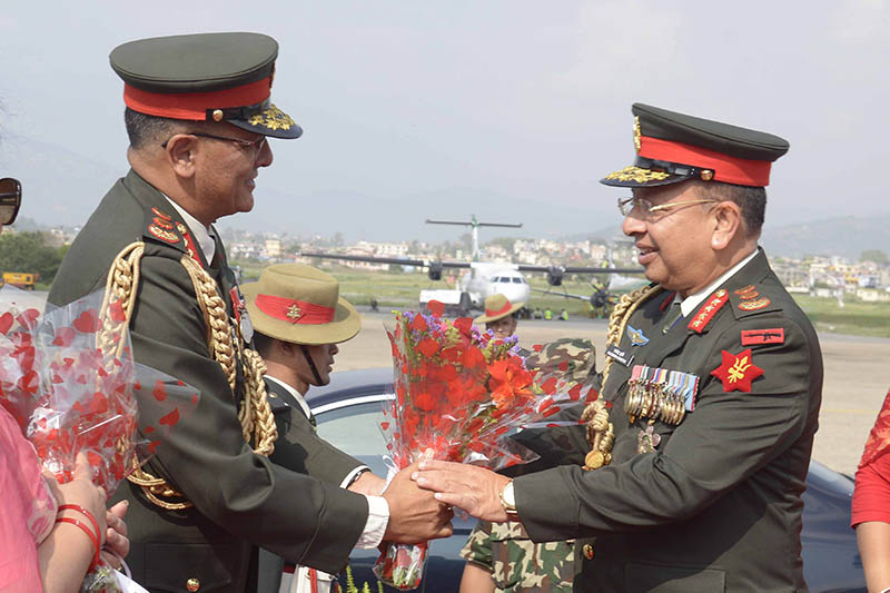 High ranking army officials welcomes CoAS Rajendra Chhetri upon his arrival at the TIA in Kathmandu, on Friday, May 18, 2018. Courtesy: Nepal Army