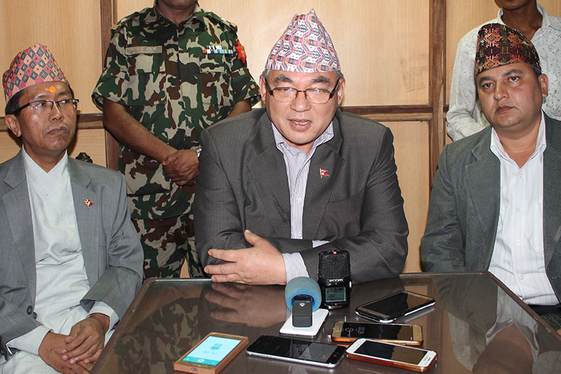 Home Minister Ram Bahadur Thapa 'Badal' speaking to media prior to provincial security meeting in Hetauda, on Tuesday, May 01, 2018. Photo: Prakash Dahal