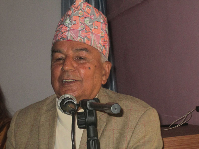 Senior leader of the Nepali Congress Ram Chandra Poudel speaking at a programme organised by BP Koirala Adhyayan Pratisthan, in Pokhara, on Tuesday, May8, 2018. Photo: Rishi Ram Baral