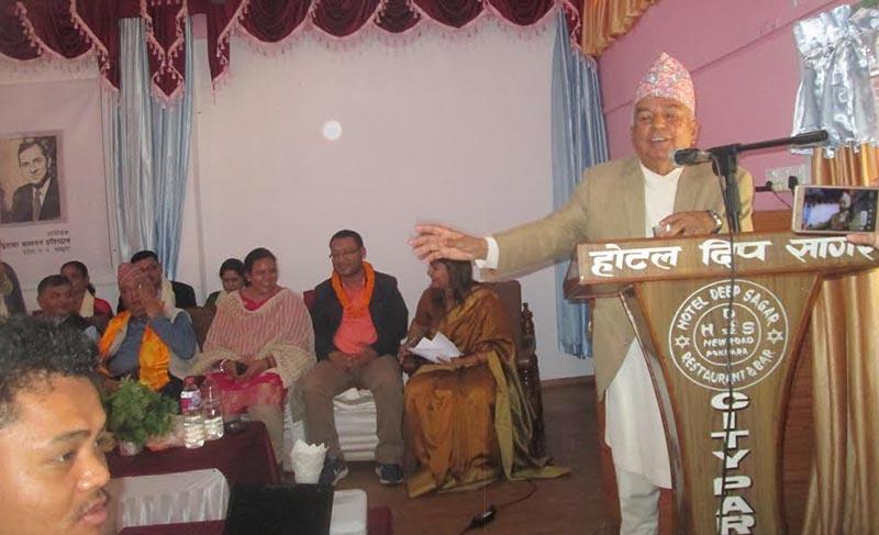 Senior Nepali Congress leader Ramchandra Paudel speaking at a programme in Pokhara, on Tuesday, May 8, 218. Photo: THT.