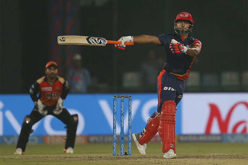 Delhi Daredevils' Rishabh Pant plays a shot during VIVO IPL  T20 match against Sunrisers Hyderabad in New Delhi, India, on Thursday, May 10, 2018. Photo:  Associated Press
