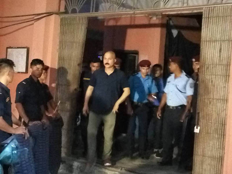 Suspended SSP Divesh Lohani leaves Morang District Court after counter-argument on trial hearing. Photo: Hari Adhikari