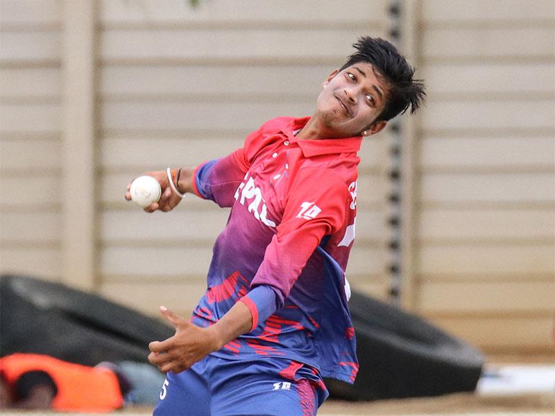 Sandeep Lamichhane in action. Photo courtesy: Cricinfo.com