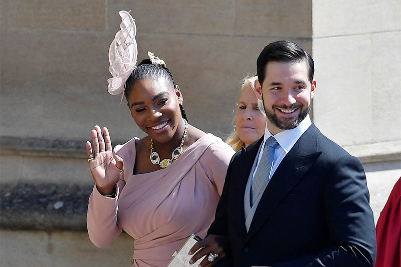 Tennis player Serena Williams arrives with her husband Alexis Ohanian to the wedding of Prince Harry and Meghan Markle in Windsor, Britain, on May 19, 2018. Photo: Reuters