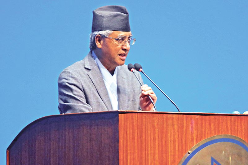 Nepali Congress President Sher Bahadur Deuba participating in the discussion on the governmentu2019s policies and programmes in the House of Representatives, in Kathmandu, on Wednesday, May 23, 2018. Photo: THT