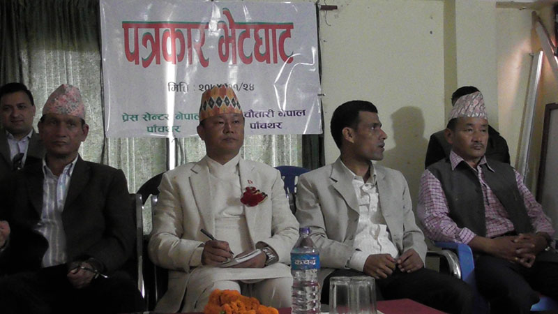 Chief Minister of Province 1 Sherdan Rai at an interaction programme with mediapersons in Phidim, the district headquarters of Panchthar, on Monday, May 7, 2018. Photo: Laxmi Gautam