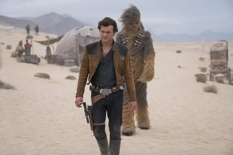 File - This undated file image released by Lucasfilm shows Alden Ehrenreich and Joonas Suotamo in a scene from u201cSolo: A Star Wars Story.u201d Photo: APn