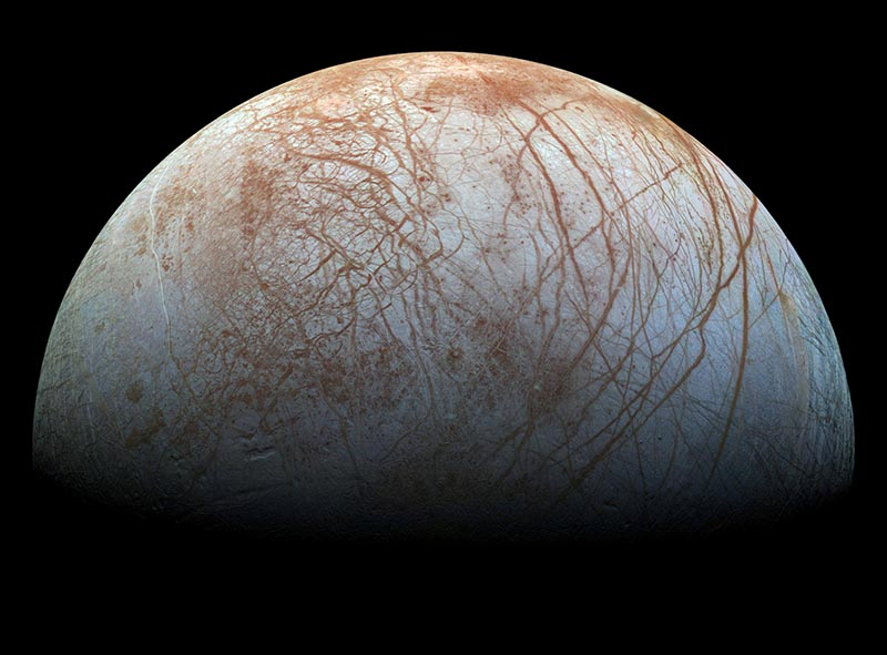 A view of Jupiter's moon Europa created from images taken by NASA's Galileo spacecraft in the late 1990's, according to NASA, obtained by Reuters May 14, 2018. Photo: NASA/JPL-Caltech/SETI Institute/ Handout via Reuters