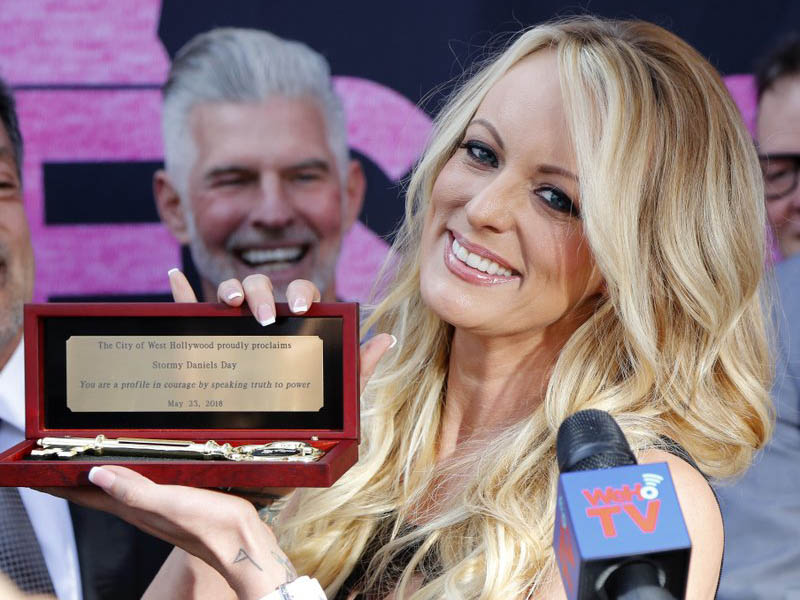 Stormy Daniels shows the key during a ceremony for her receiving a city proclamation and key to the city on wednesday, May 23, 2018 in West Hollywood. Photo: AP