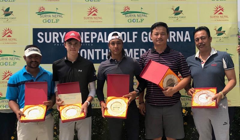 (From left) Surendra Phuyal, Sam Doublard, Prithvi Malla, Jigmay Dongstetsang and Pavitra Kumar Karki after the Surya Nepal Gokarna Monthly Medal at the Gokarna Golf Club in Kathmandu on Saturday, May 26, 2018. Photo: AP