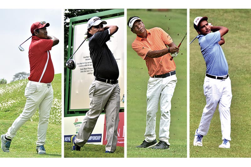 (From left) Sanjay Lama, Bal Bhadra Rai, Bhuwan Nagarkoti and Dinesh Prajapati play shots during the first round of the Surya Nepal Premier Golf Championship at the Gokarna Golf Club in Kathmandu on Monday. All four pros carded four-under 68 to share the lead after first day. Photo: THT