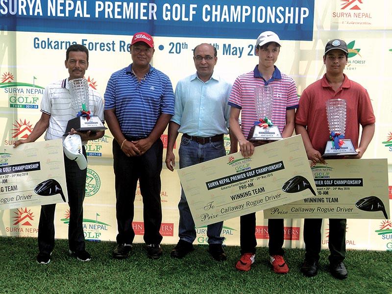 The Surya Nepal premier Pro-Am winning team with Managing Director of Surya Nepal Pvt Ltd Abhimanyu Poddar (centre) at the Gokarna Golf Club in Kathmandu on Sunday. Photo: THT