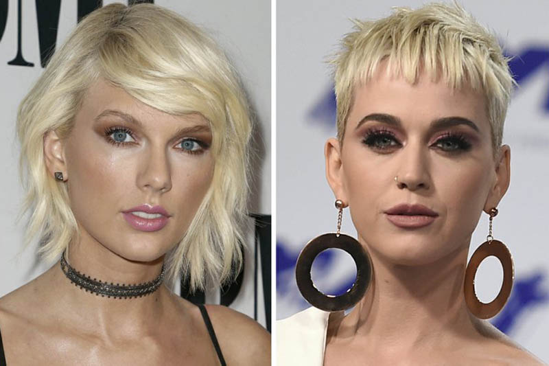File photos of Taylor Swift (left) and Katy Perry. Courtesy: AP
