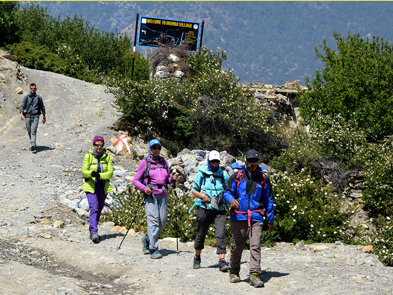 Foreigners enjoying trekking in Mustang district, on Wednesday, May 16, 2018. Photo: RSS