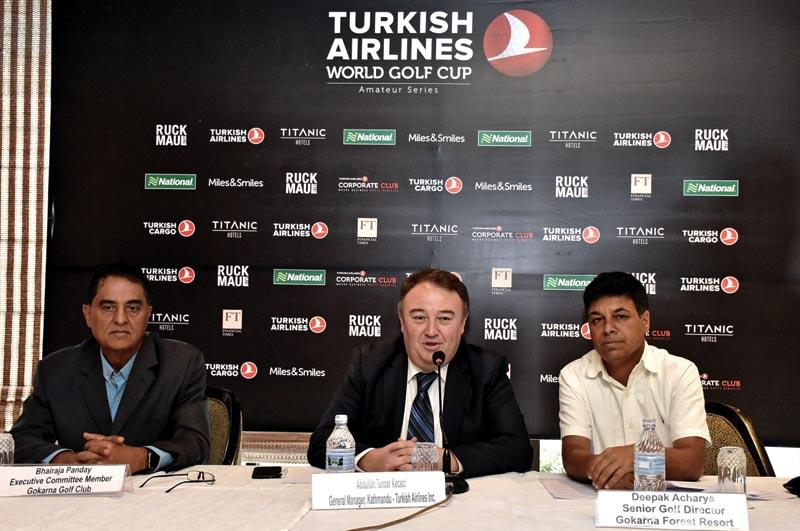 Abdullah Tuncer Kececi, GM of Turkish Airlines in Nepal, speaks as Gokarna Golf Club Member Bhairaja Pandey (left) and Senior Golf Director of Gokarna Forest Resort Deepak Acharya look on during a press meet on Friday, May 4, 2018. Photo: THT