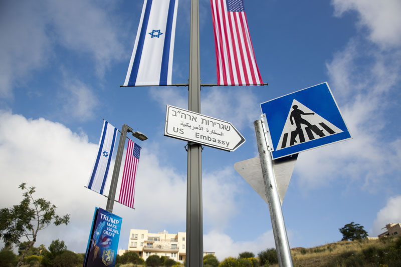 A road sign leading to the US Embassy is seen ahead the official opening in Jerusalem, on Sunday, May 13, 2018. Photo: Associated Press