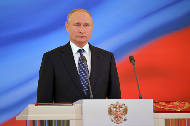 Vladimir Putin is sworn as Russian President during an inauguration ceremony at the Kremlin in Moscow, Russia, on Monday May 7, 2018. Photo:Reuters