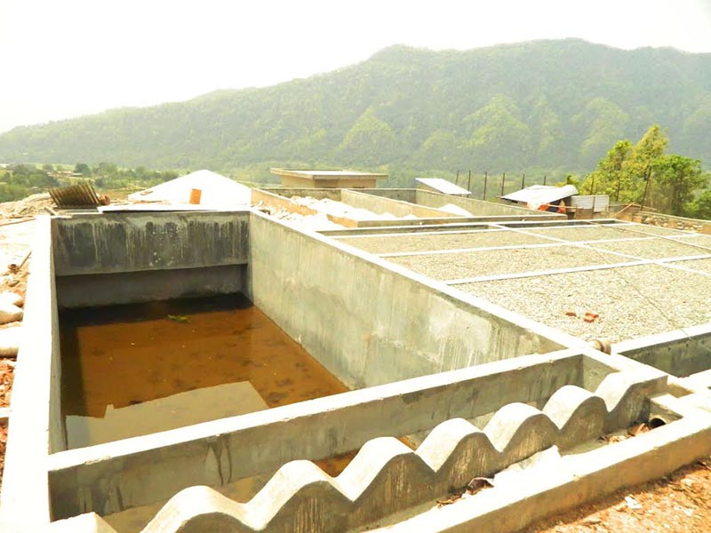 A view of the under-construction drinking water filtration plant at Duipiple in Madhya Nepal Municipality,  Lamjung, on Thursday, May 10, 2018. Photo: THT