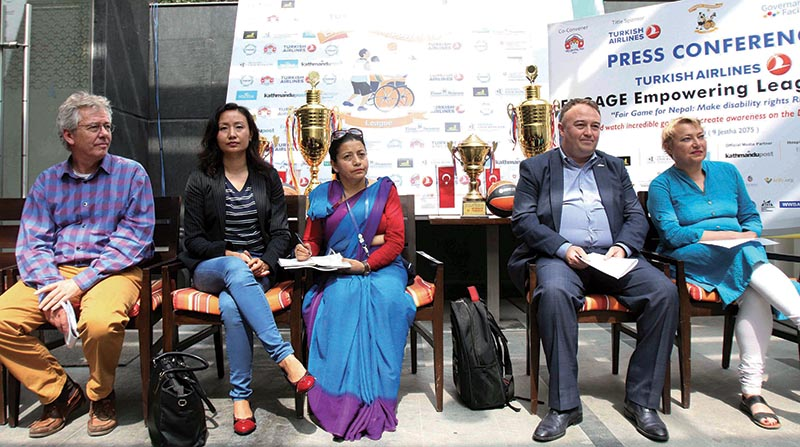 Officials attending the press meet of Turkish Airlines Engage Empowering League, Wheelchair Basketball Tournament in Kathmandu on Wednesday. Photo: THT