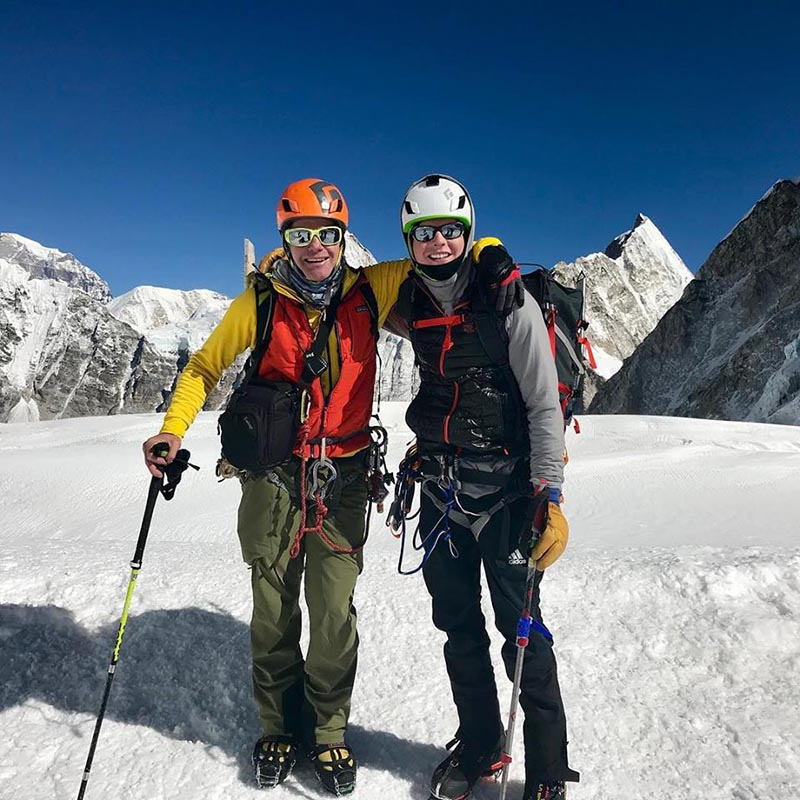 (Left) A Facebook post by Willie Benegas and Matt Moniz after skiing from Camp III to Camp II on Mt Everest; Willie and Matt at Camp I after dropping their skis.  Photos courtesy: Benegas Brothers Expeditions/Facebook