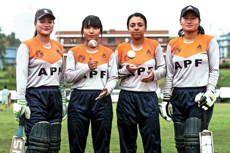 (From left) Nepal APF Club player Binu Budathoki, Sarita Magar, Karuna Bhandari and Sita Rana Magar pose for a group in Kathmandu on Thursday. Photo: Udipt Singh Chhetry/ THT