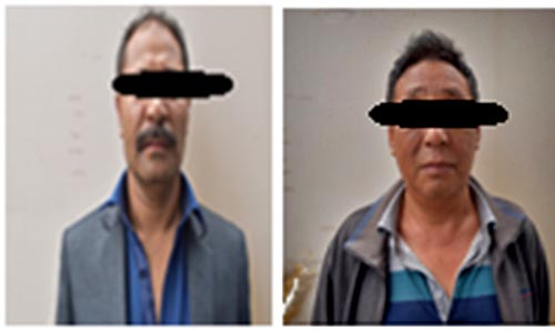 A combination picture of Sete Lama (right) and Casino Royal Manager Bishwo Shrestha, arrested during a casino raid in Durbar Marg of KMC, are made public on Tuesday, May 22, 2018. Photo: MPCD