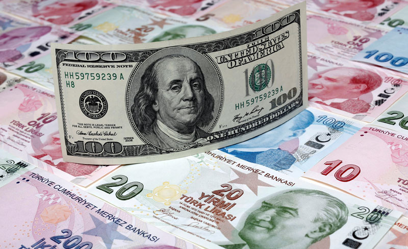 FILE PHOTO - A photo illustration taken in Istanbul shows a U.S. 100 dollar banknote against Turkish lira banknotes of various denominations January 7, 2014. REUTERS/Murad Sezer/Illustration/File Photo