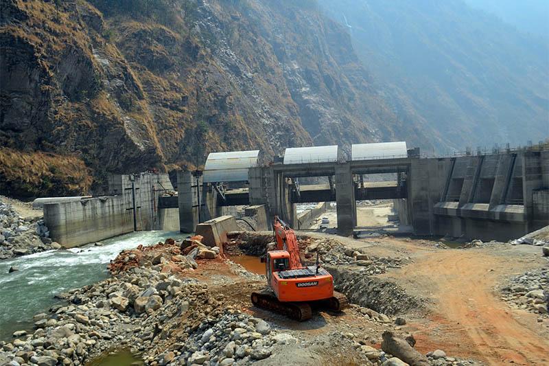 An under-construction dam of 60 mega watt Upper Trishuli Three 'A' hydro poject in Nuwakot--Rasuwa district border, as captured on Thursday, May 03, 2018. Photo: RSS