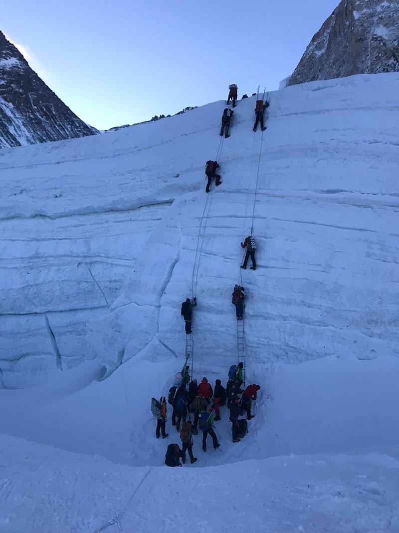 File - Climbers crossing icefall section on Mt Everest. Photo courtesy: Pasang Rinzee Sherpa