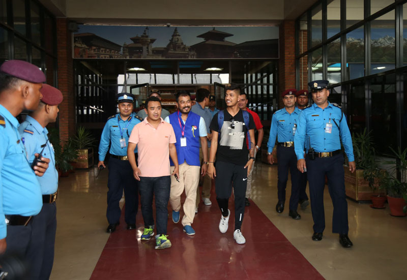 Young cricketer Sandeep Lamichhane at Tribhuvan International Airport, Kathmandu, upon his arrival from New Delhi, India, on Tuesday, May 22, 2018. Photo: RSS