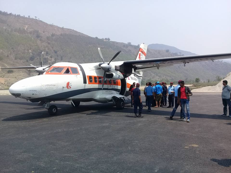 An aircraft of Summit Air seen after successful test flight at Sanfebagar Airport in Achham district on Friday, May 25, 2018. Photo: Tekendra Deuba