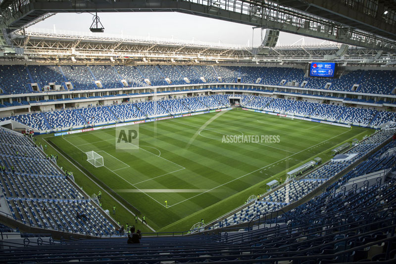 The new World Cup stadium in Kaliningrad is seen before the Russian Football National League soccer match between Baltika and Krylia Sovetov in Kaliningrad, Russia, Wednesday, April 11, 2018. The stadium will be used for games at the World Cup. (AP Photo/Nikolai Kharchenko)