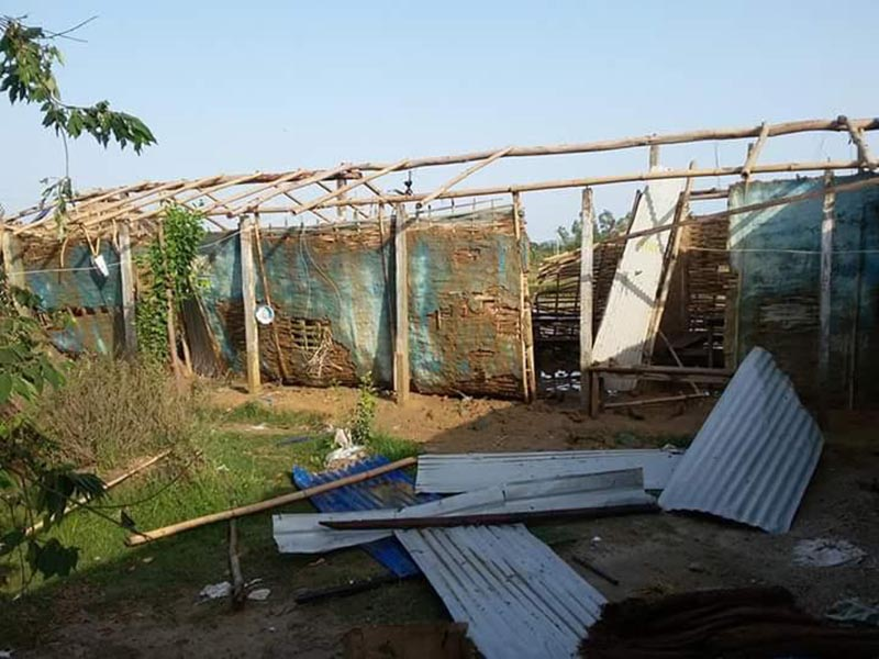 A house damaged by storm, in Gol Bazaar Municipality, Siraha, on Wednesday, May 9, 2018. Photo: THT