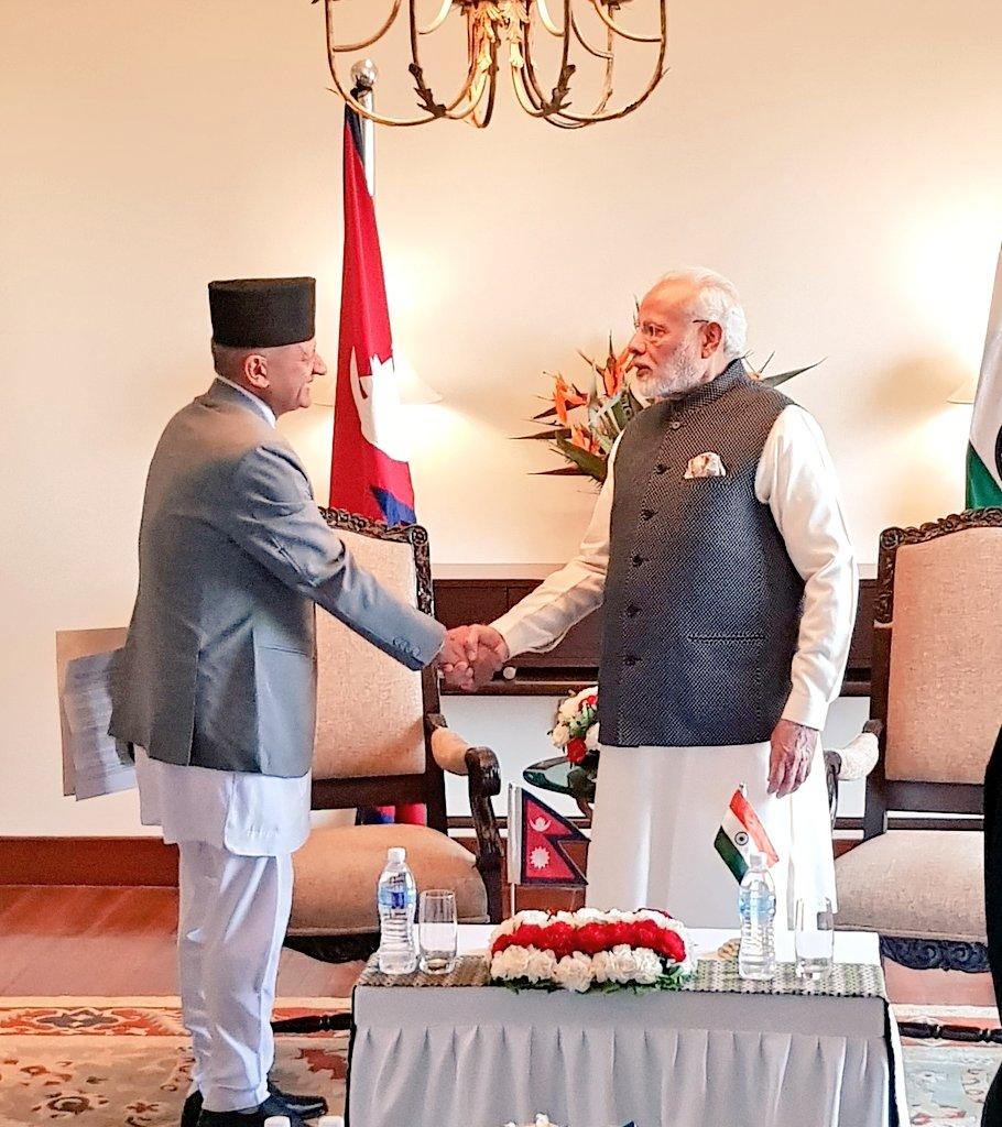 Minister for Foreign Affairs Pradeep Kumar Gyawali calls on Prime Minister of India Narendra Modi, in Hyatt Regency, Kathmandu, on Friday, May 11, 2018. Photo: MEA India/Twitter