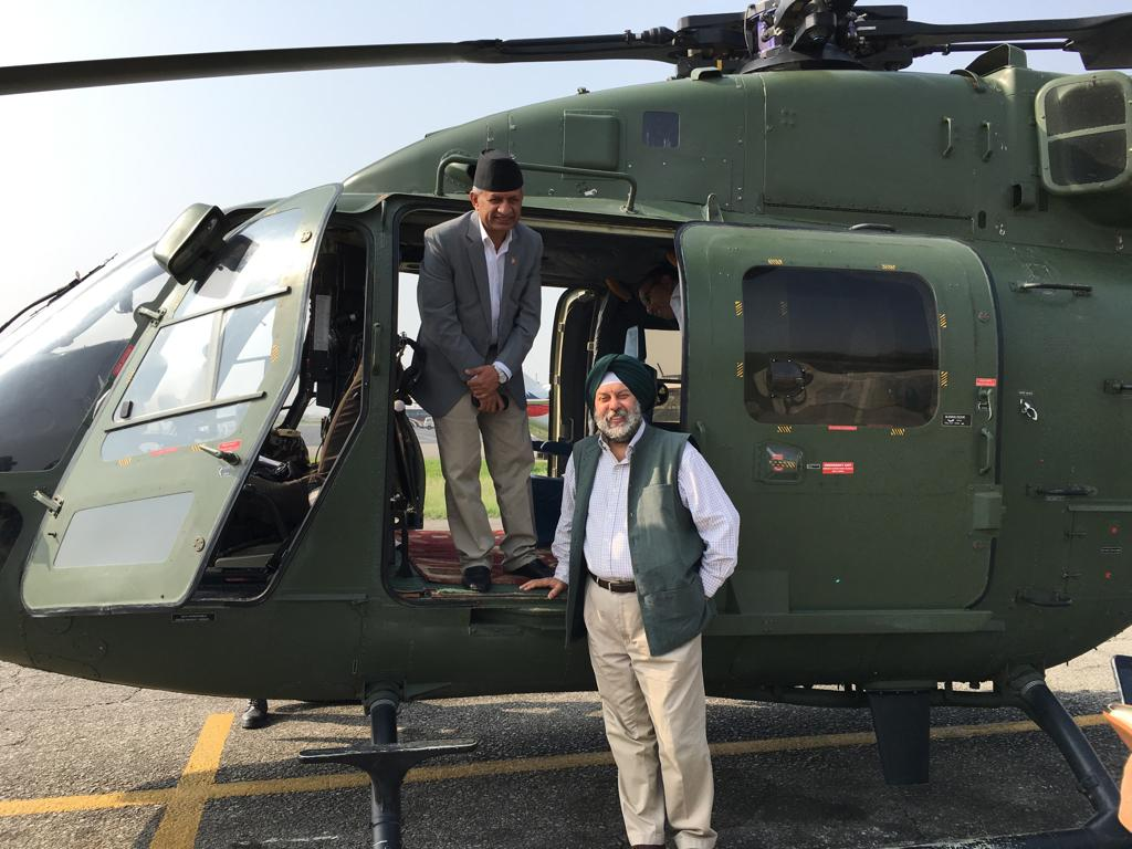 Minister for Foreign Affairs and Indian Ambassador Manjeev Singh Puri flying off to Janakpur to take stock of Indian Prime Minister Narendra Modi due on May 11. (Photo: India in Nepal/ Twitter)