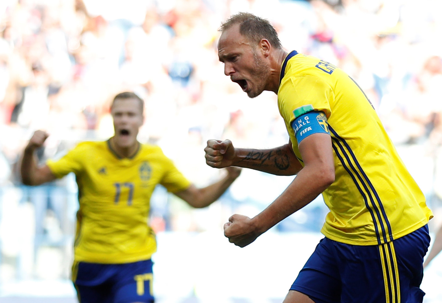 Sweden's Andreas Granqvist celebrates scoring their first goal. Photo: REUTERS