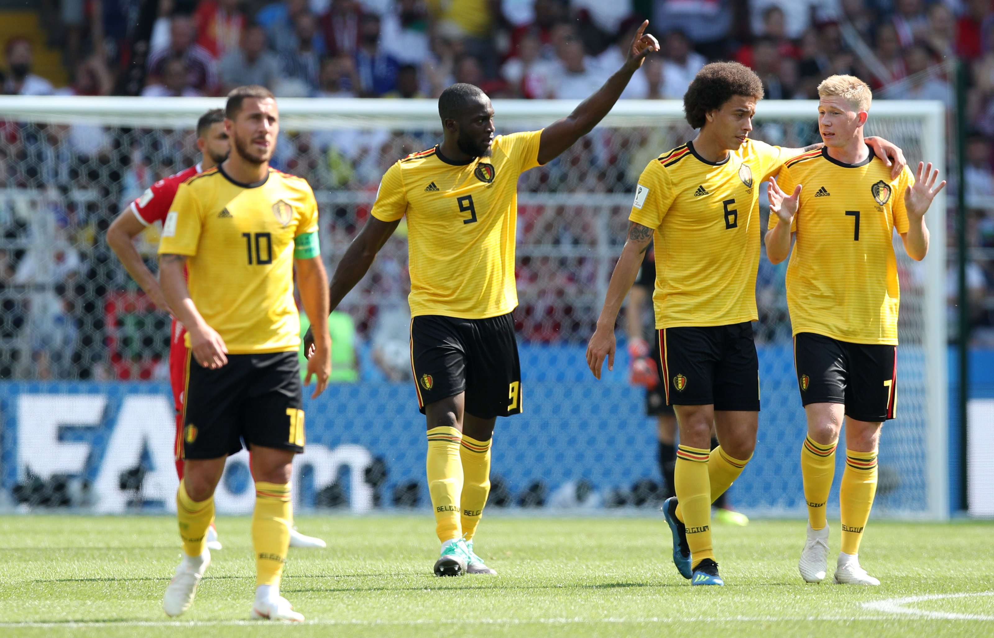 Soccer Football - World Cup - Group G - Belgium vs Tunisia - Spartak Stadium, Moscow, Russia - June 23, 2018   Belgium's Romelu Lukaku celebrates scoring their second goal with team mates Photo: REUTERS