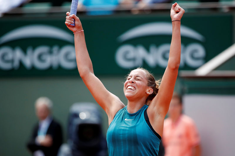 Tennis - French Open - Roland Garros, Paris, France - June 3, 2018   Madison Keys of the U.S. celebrates after winning her fourth round match against Romania's Mihaela Buzarnescu   REUTERS/Pascal Rossignol