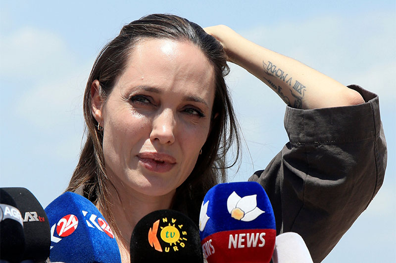 UN Refugee Agencyu2019s special envoy Angelina Jolie speaks during a news conference during her visits to a camp for Syrian refugees in Dohuk, Iraq, June 17, 2018. Photo: Reuters