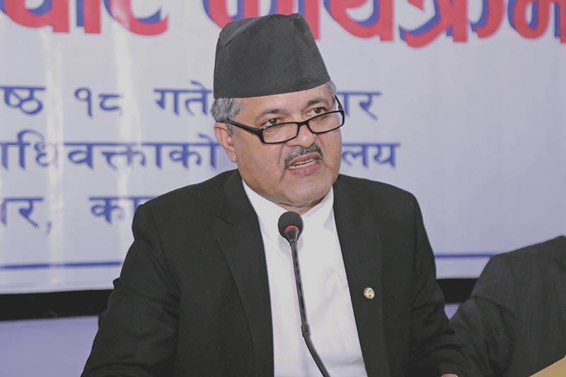 Attorney General Agni Prasad Kharel speaking at an interaction, in Kathmandu, on Friday, June 1, 2018. Photo: RSS