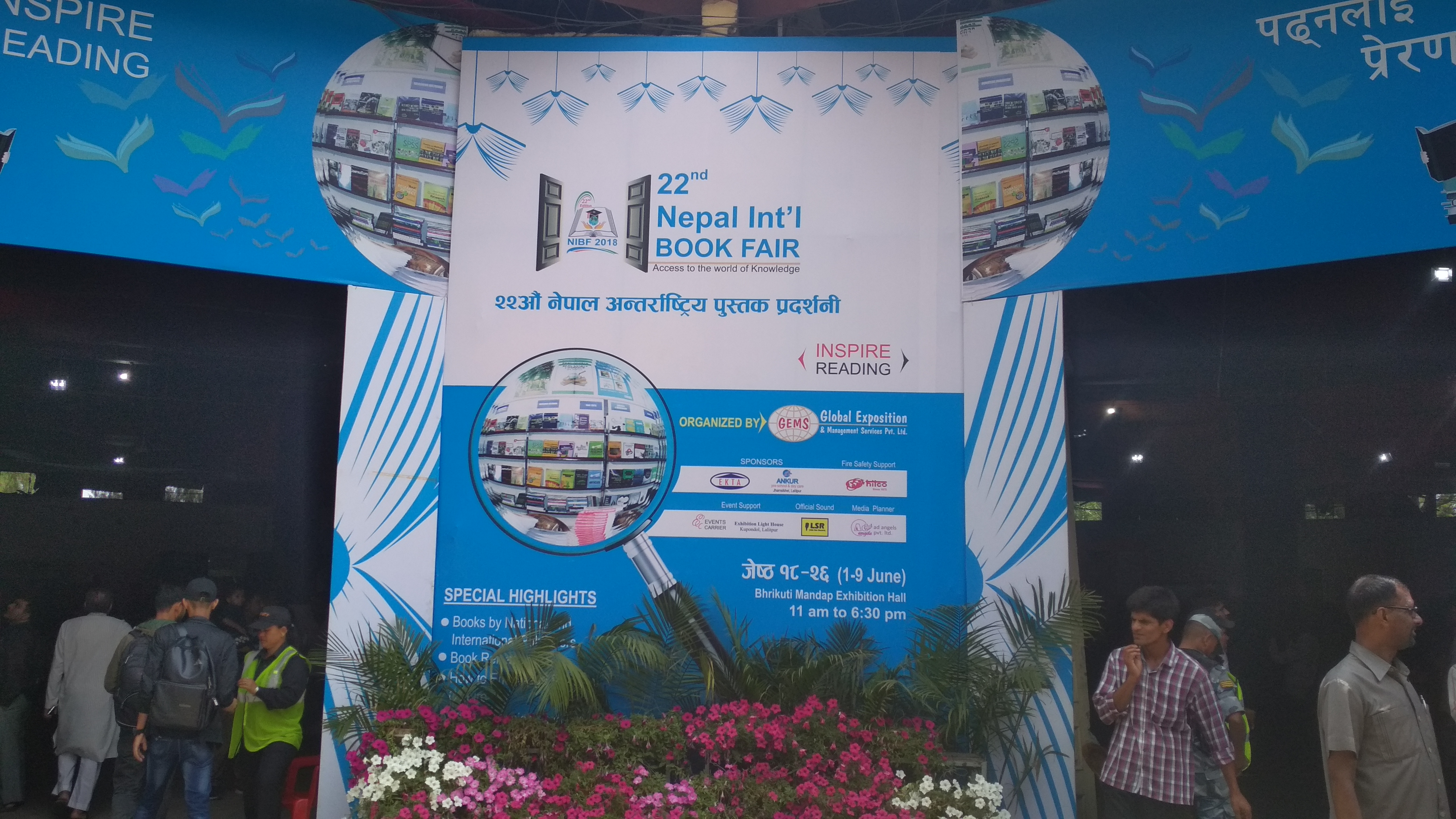Visitors explore the stalls showcasing books and education materials in 22nd Nepal International  Book Fair organised by Global Exposition and Management Services Pvt Ltd, at Bhrikuti Mandap Exhibition Hall in Kathmandu, from June 1 to 9, on Saturday, June 9, 2018. Photo: Sureis/THT Online