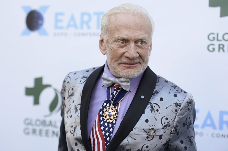 File - In this photo, Buzz Aldrin attends the 15th annual Global Green Pre-Oscar Gala, at NeueHouse Hollywood in Los Angeles on Feb. 28, 2018. Photo: AP
